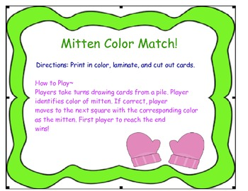 Mitten Color Match Game