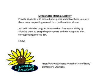Mitten Color Matching Activity (match corresponding pom-poms)