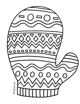 Mitten Coloring Sheet {MrsBrown.Art}