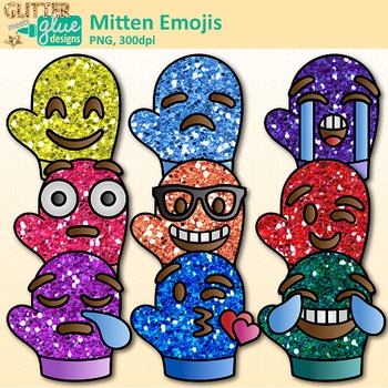 Emoji Mitten Clip Art | Winter Emoticons and Smiley Faces for Brag Tags & Decor