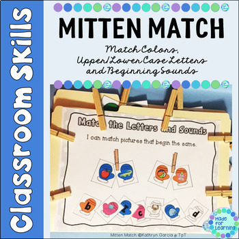 Matching Colors, Upper/Lowercase Letters and Beginning Sounds...Mitten Theme