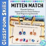 Upper Case Lower Case Matching Letters | Beginning Sounds Mitten Match