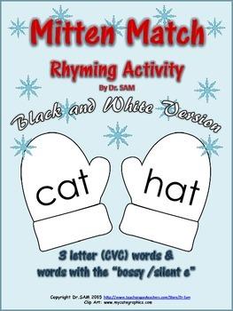 Winter Themed Rhyming Activity - Mitten Match (Black & White Version)