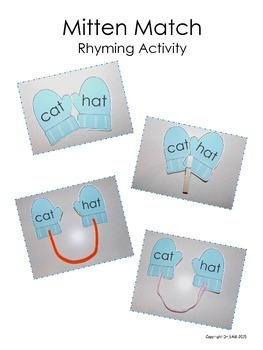 Winter Themed Rhyming Activity - Mitten Match (Black & White Version)
