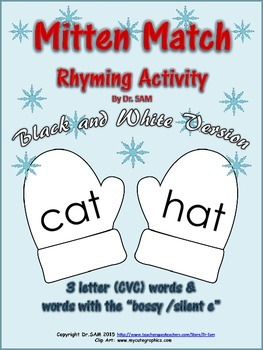 Winter Themed Rhyming Activity - Mitten Match (Black & Whi