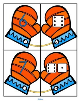Mitten Matching Numbers Centers 10-Frames, Dice, Fingers, Sets, More
