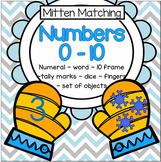 Mitten Matching Numbers Centers 10-Frames, Dice, Fingers,