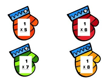 Mitten Multiplication Flashcard Facts 0-5