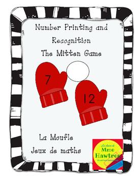 Mitten Number Recognition Game. La Moufle - Jeux de maths.