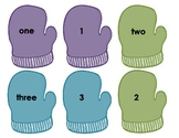 Mitten Number and Word Match Math Game