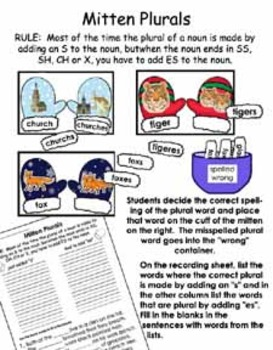Literacy Center - Mitten Plurals for words ending in SS, S