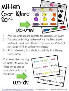 Mitten Poetry Work Station {Sight Word Focus / Color Words} 3LiteracyActivities