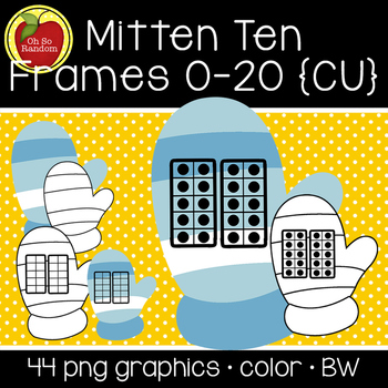 Mitten Ten Frames {Graphics for Commercial Use}