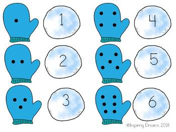 Mitten and Snowball Count and Match Number Game