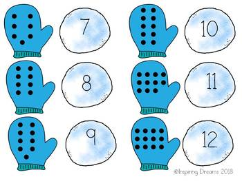 Winter Mitten and Snowball Count and Match Numbers 1-20 Game