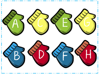 Mitten themed capital and lower case letter matching