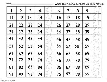 Mitten themed odd/even, patterns, hundred chart math