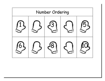 Mittens ~ 123 Number Ordering Common Core Math Center (to 30)