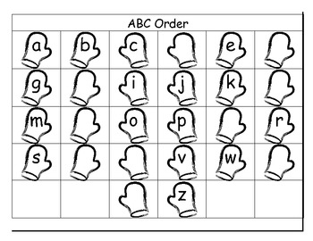 Mittens ABC Ordering Common Core Literacy Center