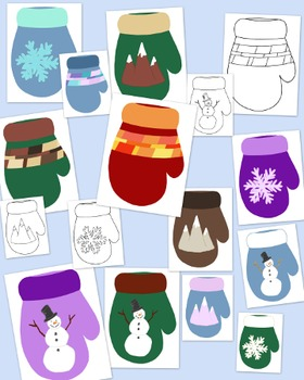 Mittens Clip Art Bundle Winter PNG JPG Blackline Commercial or Personal Pack 1
