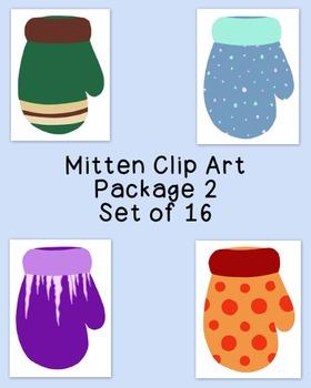 Mittens Clip Art Bundle Winter PNG JPG Blackline Commercia