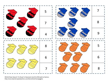 Winter Mitten Counting to 20, Count and Clip, Kindergarten, Special Education