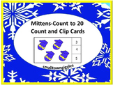 Winter Math, Mitten Count to 20, Count and Clip, Kindergarten, Special Education