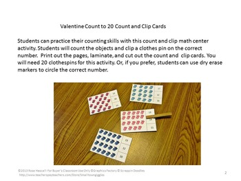 Winter Math Centers,Count to 20,Count and Clip, Kindergarten,Special Education
