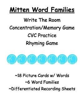 Mittens Literacy Center ~ CVC ~ Word Families ~ Rhyming Game