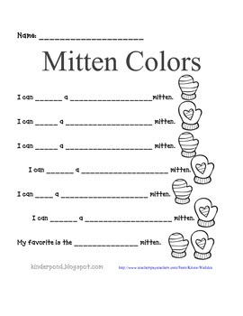 Mittens Pocket Chart