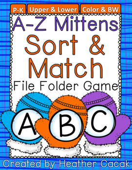 Mittens & Snowballs Alphabet Sort & Match File Folder Game {Pre-K, K}