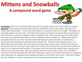 Mittens and Snowballs - a compound word game