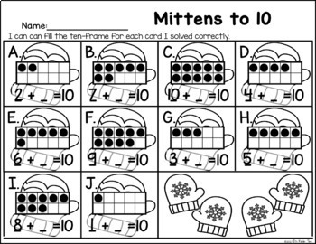 Mittens to 10 - Addition to 10