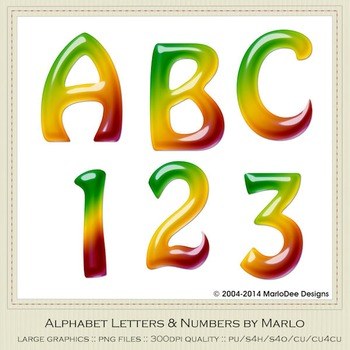 Green Yellow Red Mix Colors Gloss Hobo Style Alpha & Number Graphics