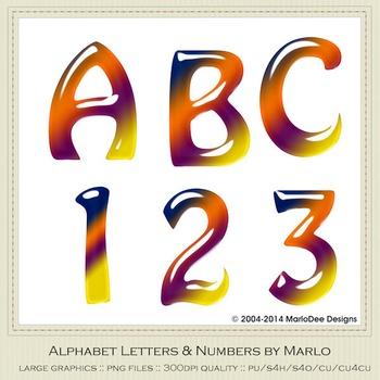 Blue Orange Purple Mix Colors Gloss Hobo Style Alpha & Number Graphics