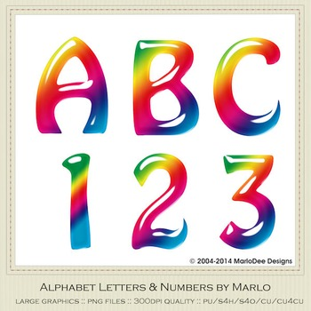 Rainbow Colors Hobo Style Alpha & Number Graphics