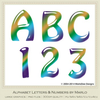 Blue Green Yellow Mix Colors Gloss Hobo Style Alpha & Number Graphics