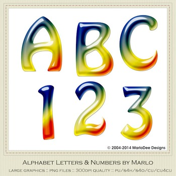 Blue Yellow Orange Mix Colors Gloss Hobo Style Alpha & Number Graphics