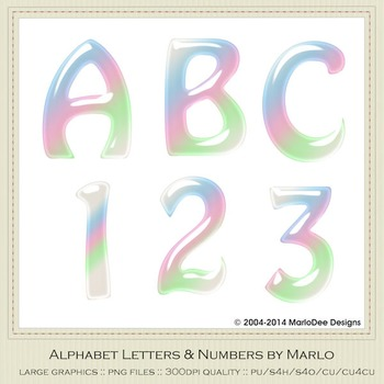Pastel Baby Mix Colors Gloss Hobo Style Alpha & Number Graphics 2