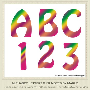Pink Green Yellow Mix Colors Flat Hobo Style Alpha & Number Graphics