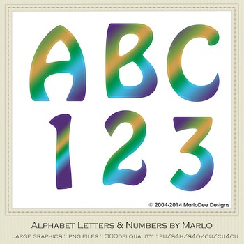Blue Green Yellow Mix Colors Flat Hobo Style Alpha & Number Graphics