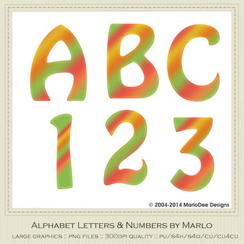 Tropical Orange Green Mix Colors Flat Hobo Style Alpha & Number Graphics