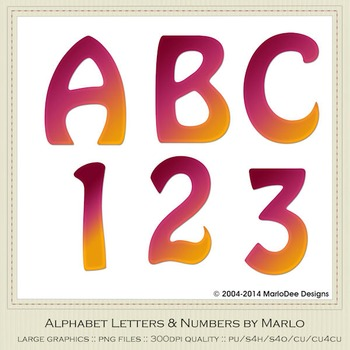 Pink Orange Mix Colors Flat Hobo Style Alpha & Number Graphics