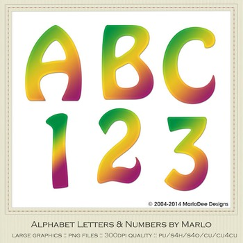 Green Yellow Red Mix Colors Flat Hobo Style Alpha & Number Graphics