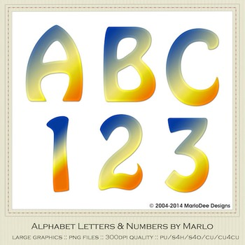 Blue Yellow Orange Mix Colors Flat Hobo Style Alpha & Number Graphics