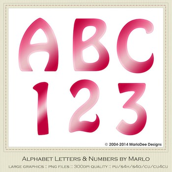Valentine's Day Pinks Mix Colors Flat Hobo Style Alpha & Number Graphics