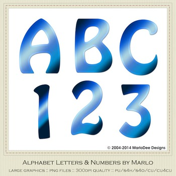 Blue Mix Colors Flat Hobo Style Alpha & Number Graphics