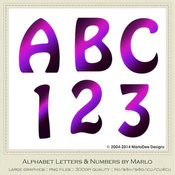 Purple Mix Colors Flat Hobo Style Alpha & Number Graphics
