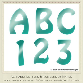 Turquoise Mix Colors Flat Hobo Style Alpha & Number Graphics