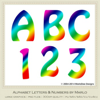 Rainbow Mix Colors Flat Hobo Style Alpha & Number Graphics 1